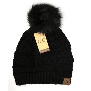 CC Boutique Accessories - Black cc classic beanie with matching pom